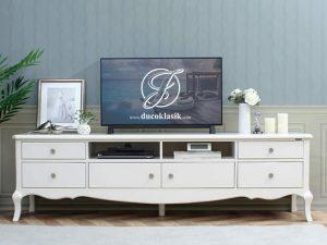 Meja TV Minimalis Putih Klasik Cat Duco