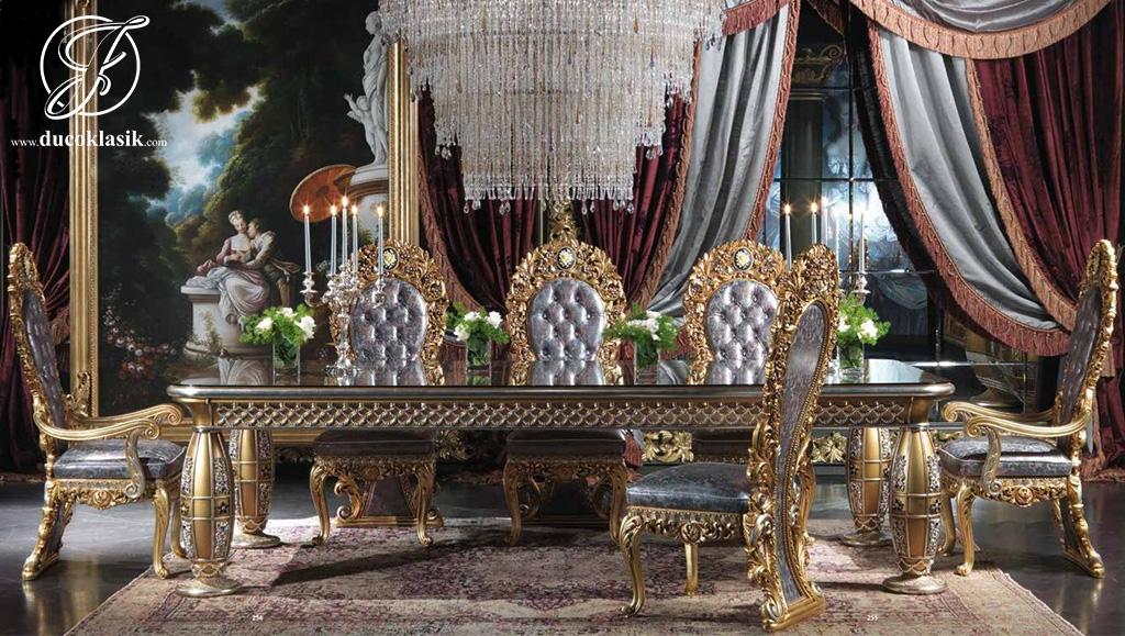 Set Meja Makan Ukir Klasik Royal Gold Terbaru