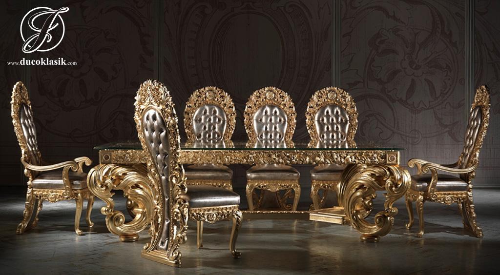 Set Meja Makan Ukir Mewah Gold Royal Classic 8 Kursi