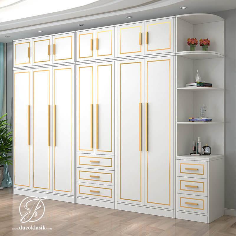 Lemari Pakaian Kayu Mewah Pintu 6 Terbaru