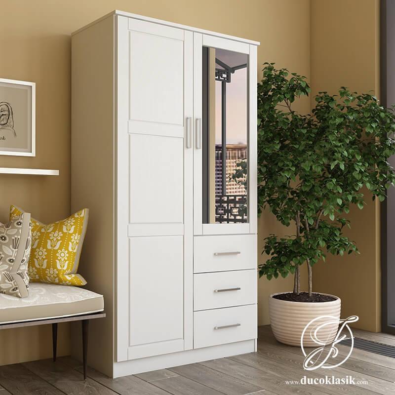 Lemari Pakaian Kayu 2 Pintu Minimalis Modern Putih