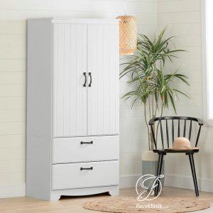 Lemari Pakaian Kayu Minimalis 2 Pintu Laci